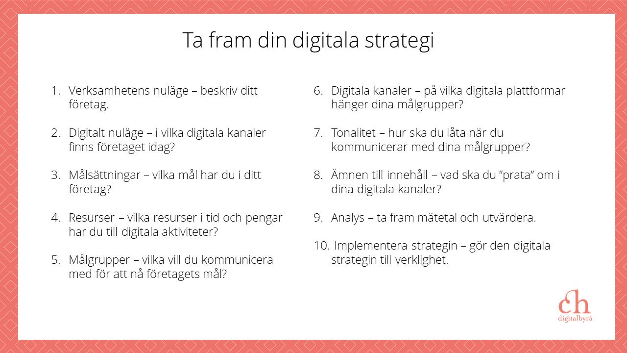 Innehåll kursen Ta fram din digitala strategi
